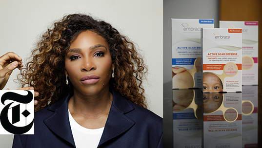 Serena talks Embrace Scar Therapy as part of her everyday beauty regimen